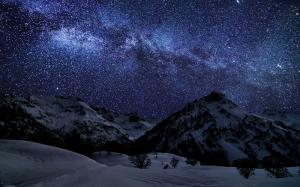 Yıldızlar ve Dağ Doğa Manzaraları Kanvas Tablo