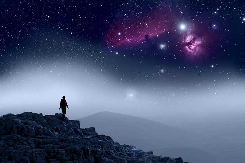 Yıldızlar ve Galaksi Dünya & Uzay Kanvas Tablo