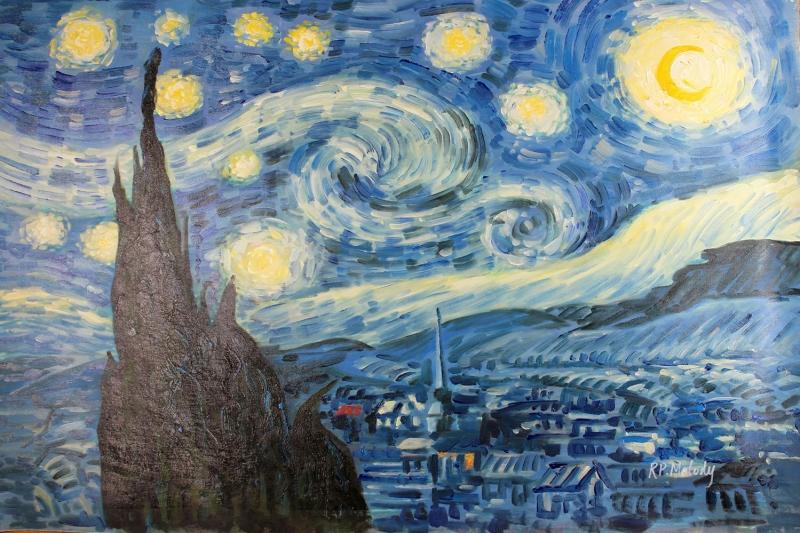 Yildizli Gece 1 Doğa Manzaraları Yağlı Boya Reprodüksiyon Klasik