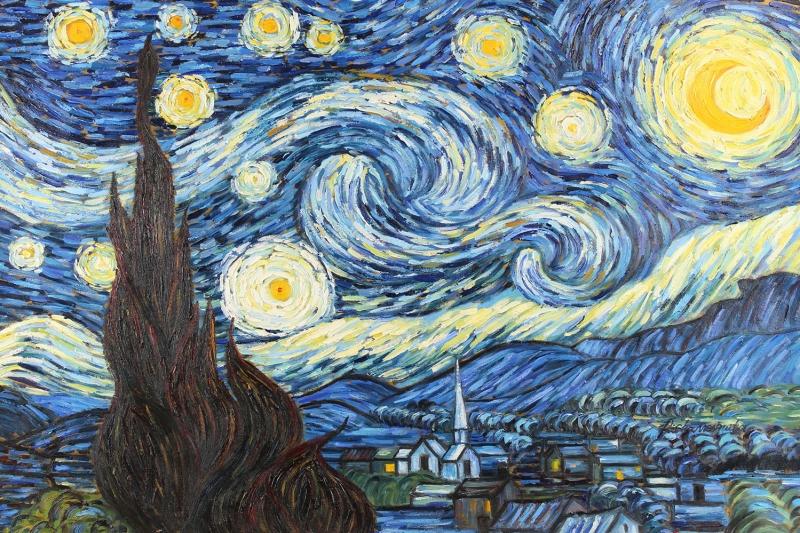 Yıldizlı Gece 2 Doğa Manzaraları Yağlı Boya Reprodüksiyon Klasik Sanat Kanvas Tablo