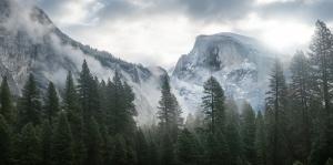 Yosemite Milli Parkı Berrak Göl Orman Dağlar-2 Doğa Manzaraları Kanvas Tablo