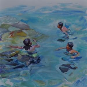 Yuzen Cocuklar 2 Yagli Boya Klasik Sanat Kanvas Tablo