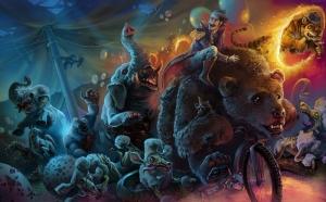 Zombi Fantastik Hayvanlar Kanvas Tablo