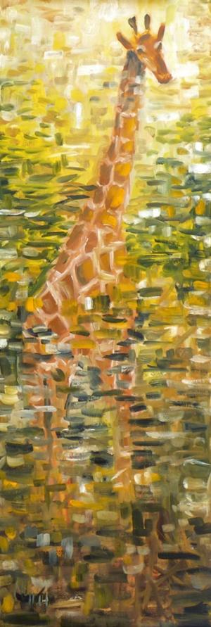 Zurafalar Yagli Boya Sanat Dekoratif Kanvas Tablo